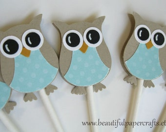 Owl Cupcake Toppers- Aqua Owl Baby Shower Decorations - Owl Birthday Decorations..set of 12