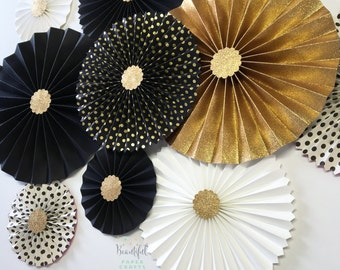 New Year's Eve Wedding Decor | Gold Glitter Rosettes | Black and Gold Rosette Backdrop | Black and White Graduation  | Paper Fan Backdrop