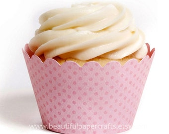 Baby Pink Cupcake Wrappers, Baby showers, 1st Birthdays ...set of 12