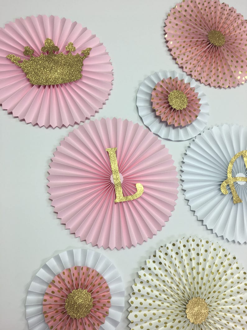 Pink and Gold Glitter Party Fans Princess 1st Birthday Princess Party Decorations Backdrop Pink and Gold Crown