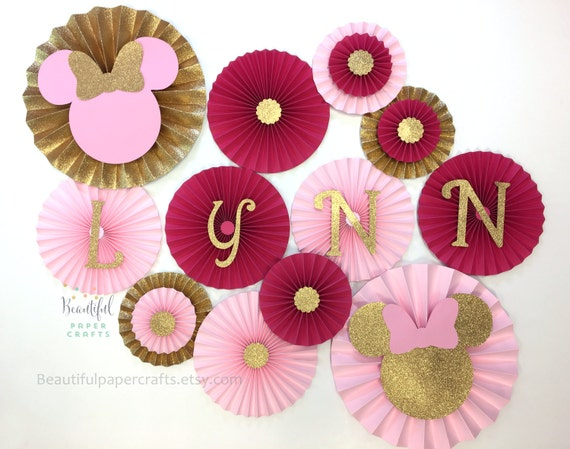 Minnie Mouse Inspired Backdrop Minnie Mouse Paper Fans Pink And