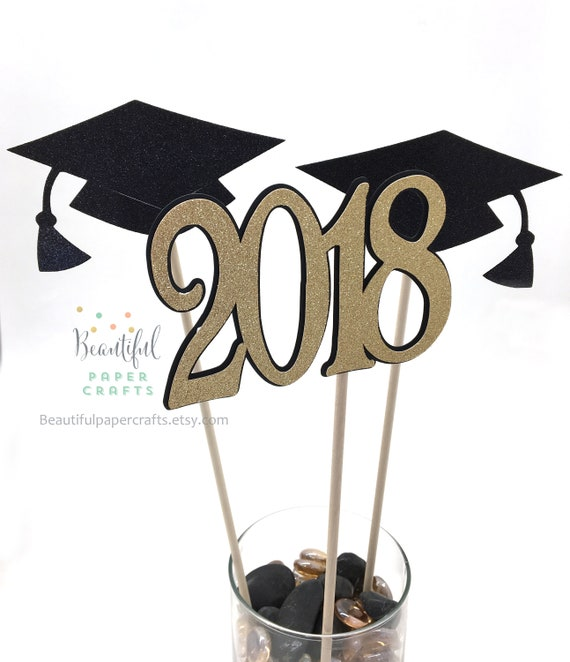 Graduation Centerpieces 2020.Graduation Centerpieces 2020 Graduation Decor Graduation Party Decorations Black And Gold Graduation Grad Party Class Of 2020 3 Ct
