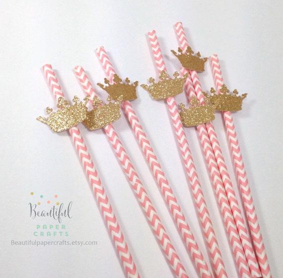 25 Royal Gold Crown Straws