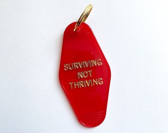 "Vintage - Old School - ""Surviving Not Thriving"" - Hotel Motel - Key Tags - Key Chains - Fun Stocking Stuffer - Under 10 - Corona - 2020"
