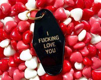 "Vintage - Old School - ""I Fucking Love You"" - Hotel Motel - Key Tags - Key Chains - Fun Stocking Stuffer - Under 10 - Valentines Day"