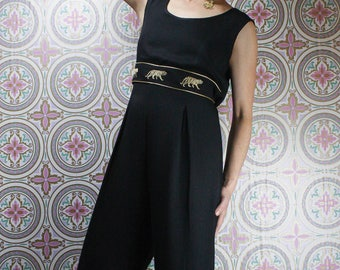 90's Tiger Jumpsuit, Black & Gold Sleeveless Pantsuit, Size Medium