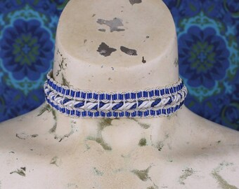 Blue Lace CHOKER // 1920's lace // Blue & White