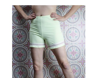 60's Nylon Bloomers, Pastel Lime Green Knickers with Lace, Size Small