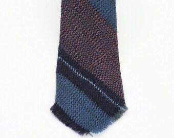 Skinny NECKTIE Hand Woven Vintage // Blue Tones //Striped
