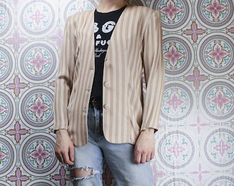 90's Striped Womens Blazer, Two Tone Tan, Casual Earth Tones Jacket, Size Small