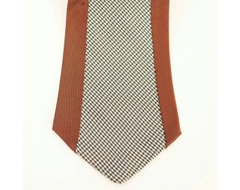 1940's NECKTIE // Panels // Hounds tooth and Rust // Mod
