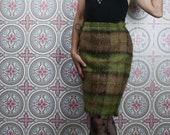 70 39 s Andrew Stewart Mohair Skirt, Knee Length Tartan Pencil Skirt with Fringe, Size Small