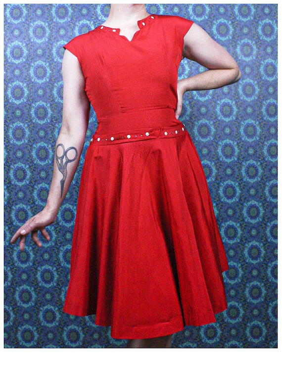 1940's Red Swing Dress, Size Small