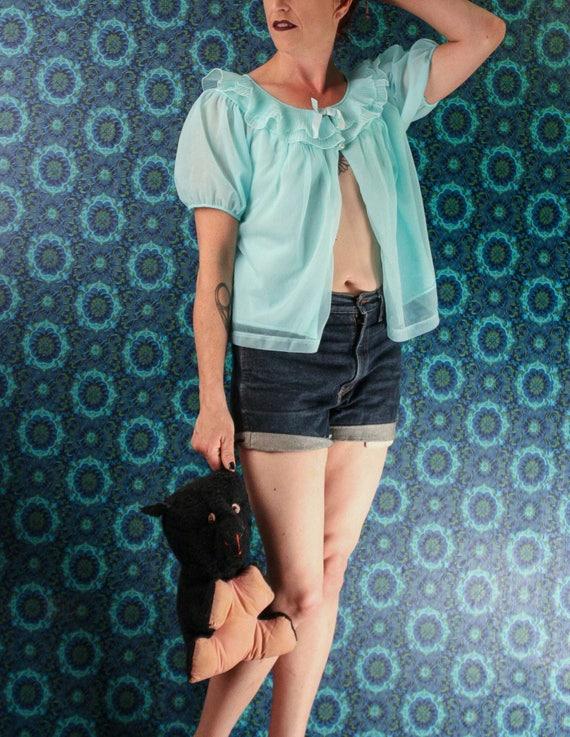60er Jahre blaues Bett Jacke Nylon Chiffon Petticoat klein   Etsy 13a9d23a2e
