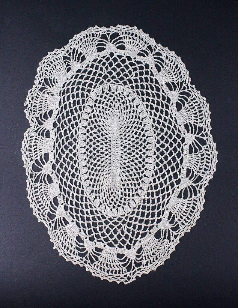 40 S Doily Ecru Crochet Oval Table Mat Free Shipping Etsy