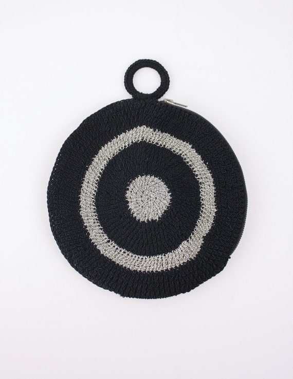 60's Circle Purse, Black & Silver Crochet Bag, Sma
