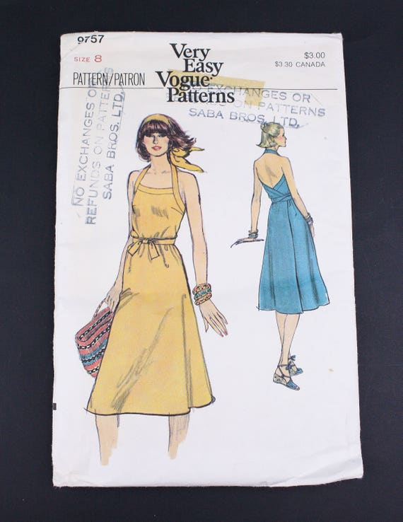 70s Vogue 9757 Sewing Pattern Womens Halter Wrap Etsy