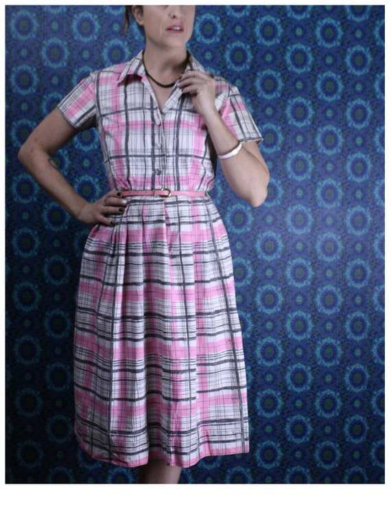 1950's Pink Plaid Day Dress, Size Small