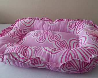 Pet Bed Pink & White Flowers Reversible Adjustable Small