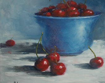 """Blue Bowl of Red Cherry, 8"""" X 8"""", Original Still life Oil Painting"""
