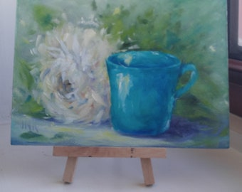 Coffee Bar Decor, White Peony & Blue Cup, 5 X 7,