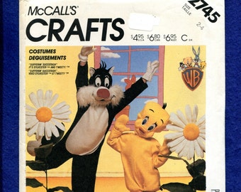 1980's McCall's 2745 Sylvester the Cat & Tweety Bird Costumes Pattern Size Kids 2/4 UNCUT