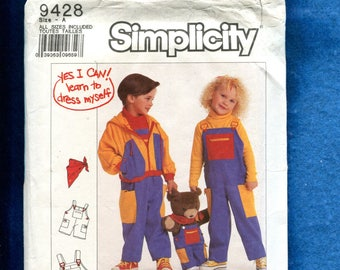 Simplicity 9428 Hooded Jacket & Overalls for Kids to Dress Themselves Size 3..4..5..6 UNCUT