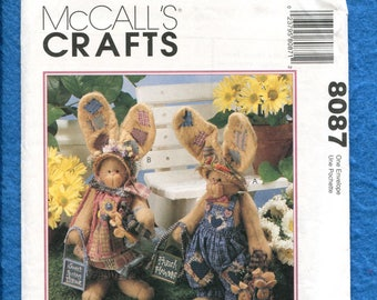 McCalls 8087 Folk Art Bunny Rabbits Ready for a Day in the Country UNCUT