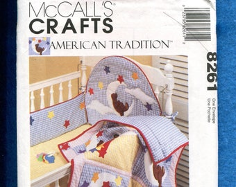 8261 UNCUT McCalls Sewing Pattern Infant Bedroom Decor Nursery Crib Accessories