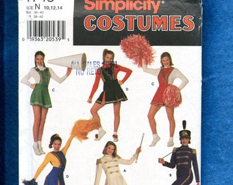 4ad185064951 Simplicity 7743 Cheerleader Drum Majorette Costumes for Adults Sizes 10..12..14  UNCUT
