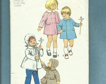 1973 Simplicity 5934 Dressy or Play Coats & Hats for Little Girls  Size 1
