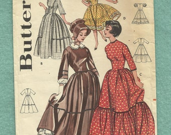 1960s Butterick 9584 Lady's Centennial Costumes Tiered Ruffled Dress Bonnet and Square Dancing Dress  Size 10