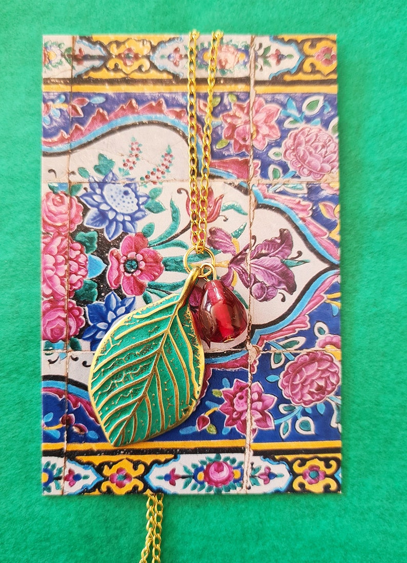 Persian Necklace Iranian inspiration Pomegranate necklace Made in France Pomegranate Jewelry Iranian necklace Persian Jewelry