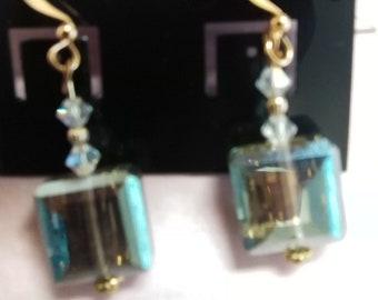 Delicate Lovely Aquamarine and Crystal Earrings