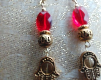 Boho Red and Gold Dangle Earrings, Hamsa Hands