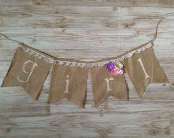 Shabby Chic Gender Reveal Burlap its a girl burlap banner bunting photo prop