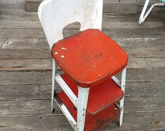 Astonishing Stool Kitchen Utility Metal Step Folding Red White Etsy Gmtry Best Dining Table And Chair Ideas Images Gmtryco
