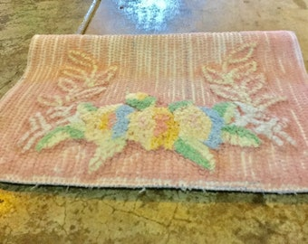 32 x 18 Yellow Chenille Piece Peach and Blue Chenille Flower Sewing Quilting Supplies,Craft Supplies,Yellow Chenille
