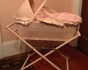 Pink Wicker Baby Crib 1940 Bassinette Wood Base Furniture