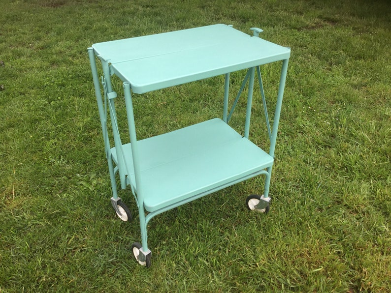 Cart Metal Wheeled Kitchen Industrial Jade Green Folding