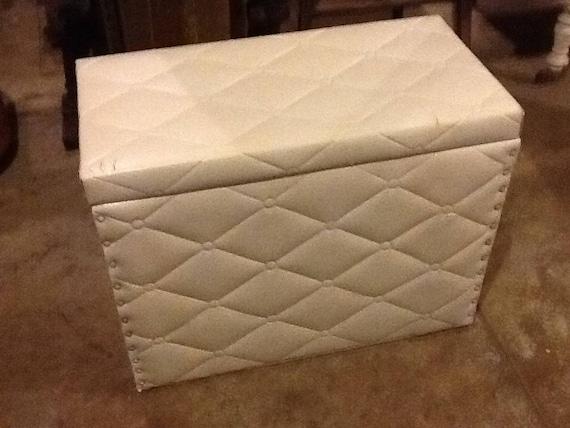 Seat Bench Vinyl Storage Chest Toy Box White