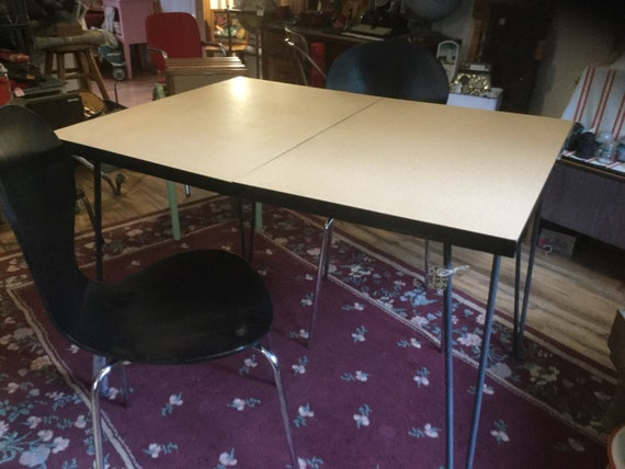 Table Dining Retro Tan Black Kitchen Formica