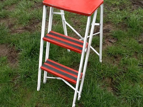 Pleasing Stool Kitchen Utility Metal Step Folding Red White Gmtry Best Dining Table And Chair Ideas Images Gmtryco