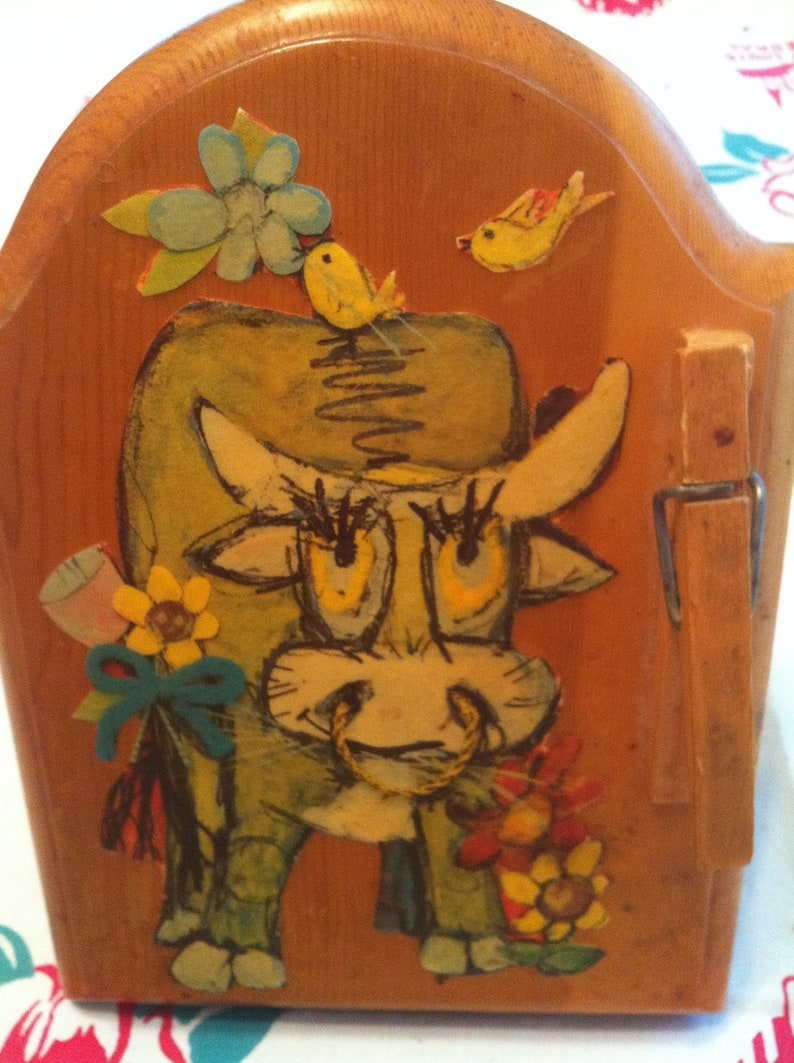 Decoupage Cow Receipe Card Holder