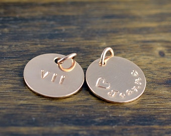 Rose Gold Charm Add On Ala Carte Engraved Disc Hand Stamped Name Personalized Charms Monogrammed