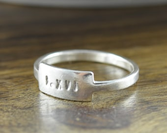 Name Ring, Roman Numeral Ring, Personalized Ring, Hand Stamped Tab Ring, Silver Stacking Rings, Hand Stamped Sterling Silver Ring