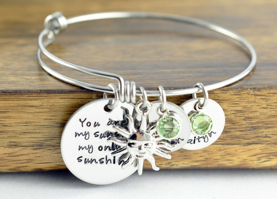 Personalized You Are My Sunshine Bangle Bracelet Personalized Jewelry Engraved 1047