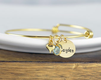 Gold Name Bracelet - Hand Stamped Bracelet - Hand Stamped Jewelry - Mother Bracelet - New Mom Gift - New Mommy Gifts - New Mom Jewelry