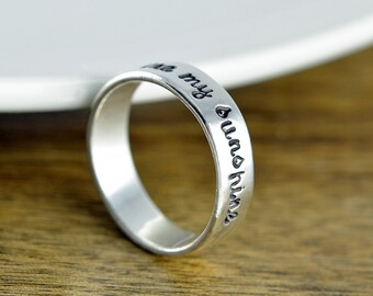 Sterling Silver Ring, You are my sunshine, Hand Stamped Ring, Personalized Ring, Personalized Jewelry, You are my sunshine jewelry
