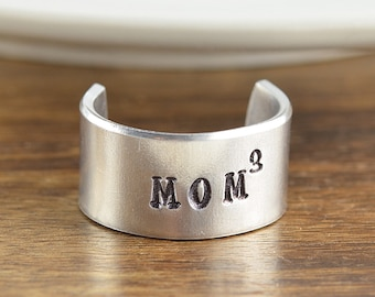 Mom of Three Jewelry, Hand Stamped Ring, Personalized Mothers Ring, Mothers Day, Personalized Ring, Adjustable Ring, Mom Gift,